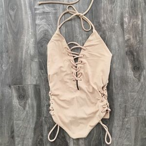 NWOT F21 nude/tan lace up one piece bikini